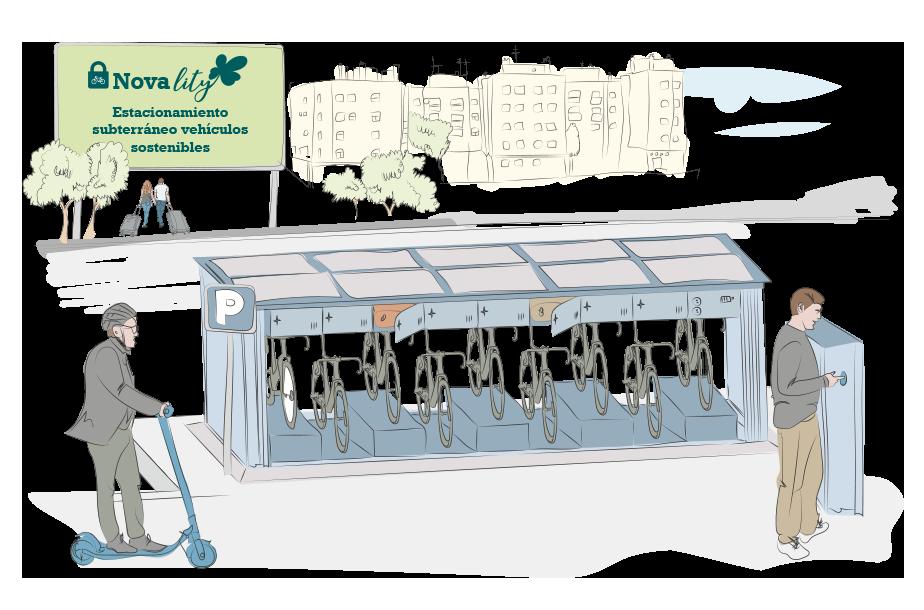 estacionamiento subterraneo para vehiculos sostenibles